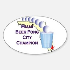 Miami Beer Pong City Champion Oval Decal