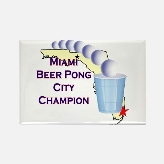 Miami Beer Pong City Champion Rectangle Magnet