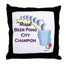 Miami Beer Pong City Champion Throw Pillow