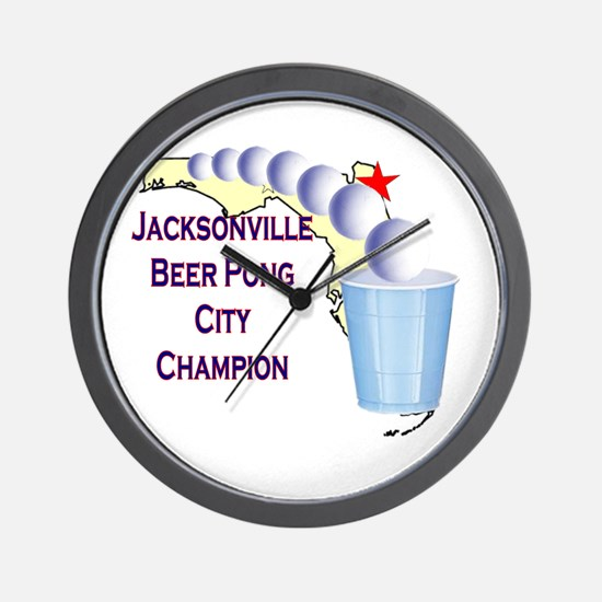 Jacksonville Beer Pong City C Wall Clock