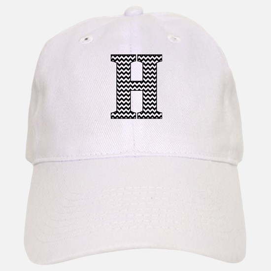 Black and White Chevron Letter H Monogram Baseball Baseball Cap