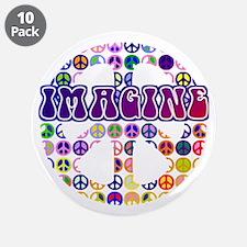 "Imagine Peace Anti-war Art 3.5"" Button (10 pack)"
