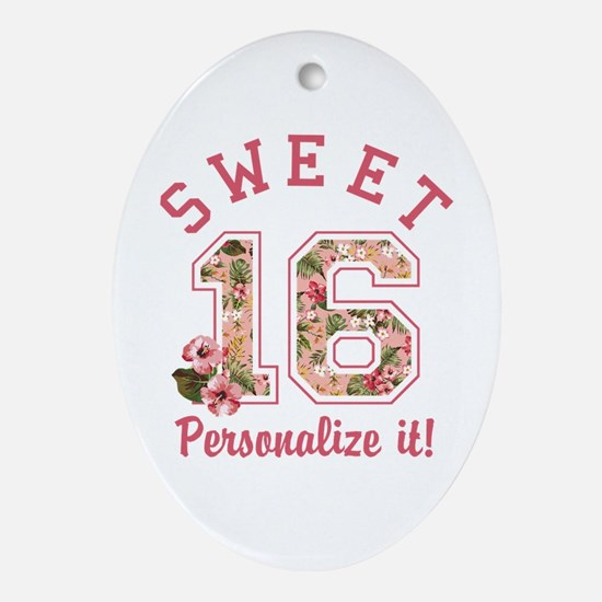 PERSONALIZED Sweet 16 Oval Ornament