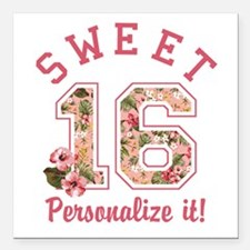 """PERSONALIZED Sweet 16 Square Car Magnet 3"""" x 3"""""""