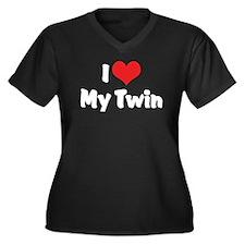 I Love My Twin Women's Plus Size V-Neck Dark T-Shi