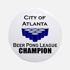 City of Atlanta Beer Pong Lea Ornament (Round)