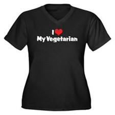 I Love My Vegetarian Women's Plus Size V-Neck Dark
