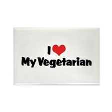 I Love My Vegetarian Rectangle Magnet (10 pack)