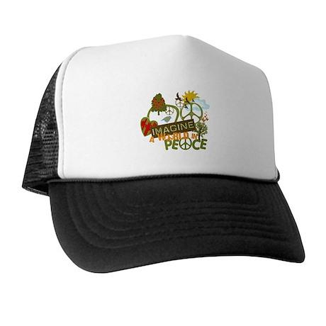 Imagine Peace Unique Collage Art Trucker Hat