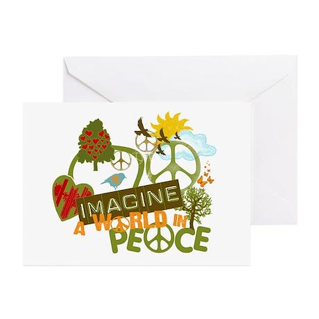 Imagine Peace Unique Collage Art Greeting Cards (P