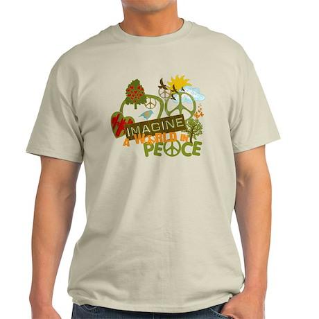 Imagine Peace Unique Collage Art Light T-Shirt