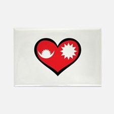 Nepal Love Heart Rectangle Magnet