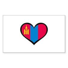 Mongolia Love Rectangle Decal