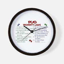 Pug Property Laws 2 Wall Clock