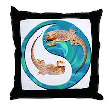 Yin Yang Bearded Dragon Throw Pillow