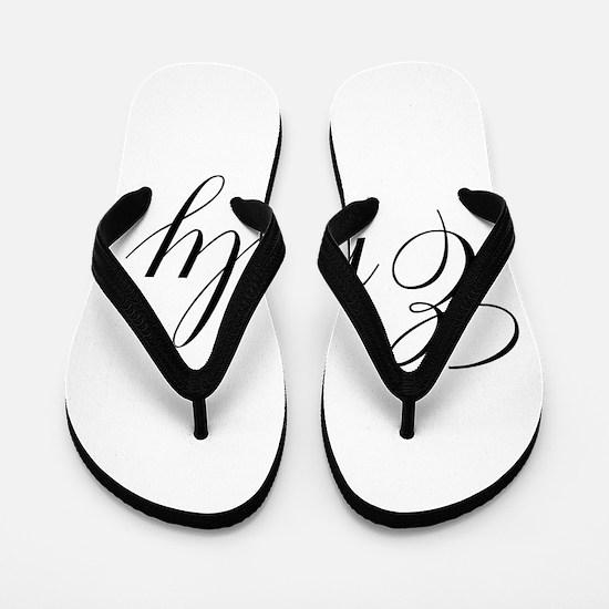 Personalized Black Script Flip Flops