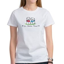 Its westie time red blue crop T-Shirt