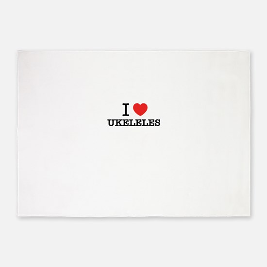 I Love UKELELES 5'x7'Area Rug