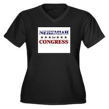 NEHEMIAH for congress Women's Plus Size V-Neck Dar