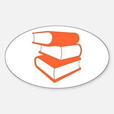 Stack Of Orange Books Sticker (Oval)