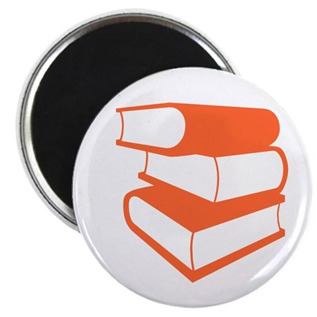 "Stack Of Orange Books 2.25"" Magnet (10 pack)"