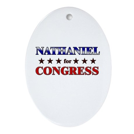 NATHANIEL for congress Oval Ornament