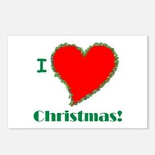 I Love Christmas Heart Postcards (Package of 8)