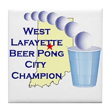 West Lafayette Beer Pong City Tile Coaster