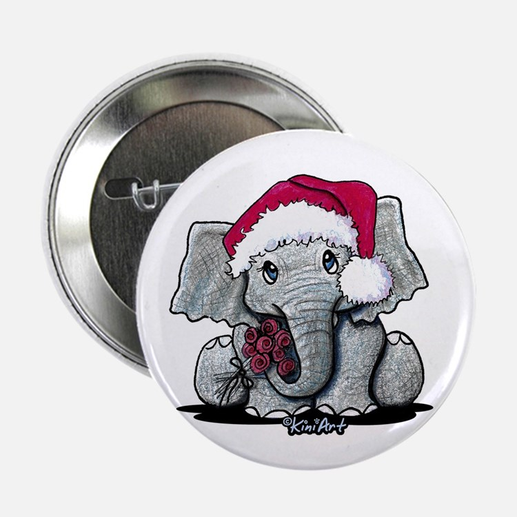 "Holiday Elephant 2.25"" Button"