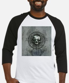 Awesome skull with bones and roses Baseball Jersey