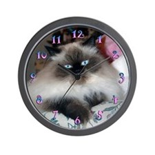 HIMALAYAN SEAL-POINT CAT WALL CLOCK