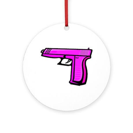 Pink Pistol Ornament (Round)