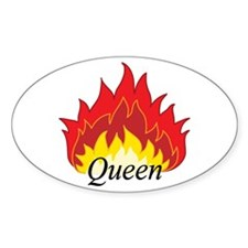 Flaming Queen Oval Decal