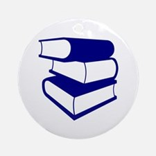Stack Of Blue Books Ornament (Round)