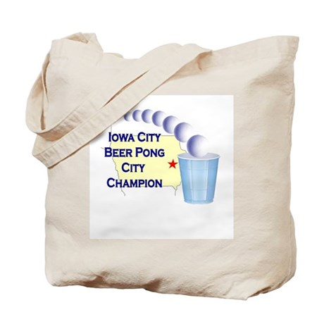 Iowa City Beer Pong City Cham Tote Bag
