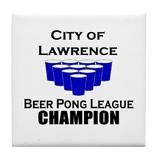 City of Lawrence Beer Pong Le Tile Coaster