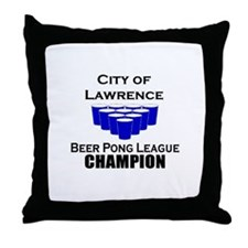 City of Lawrence Beer Pong Le Throw Pillow