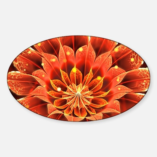Funny Fire lotus Sticker (Oval)