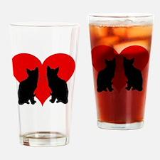 Cute Valentines kitten Drinking Glass