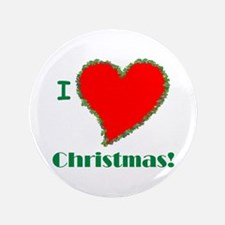 "I Love Christmas Heart 3.5"" Button (100 pack)"