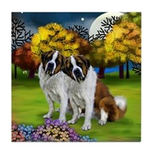 SAINT BERNARD DOGS FALL Tile Coaster