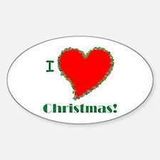 I Love Christmas Heart Oval Decal