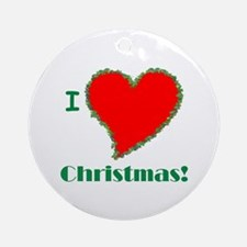 I Love Christmas Heart Ornament (Round)