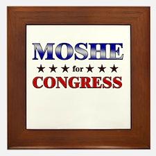 MOSHE for congress Framed Tile