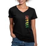 Guyana Stamp Women's V-Neck Dark T-Shirt