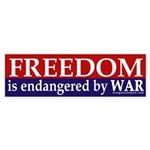 Freedom is Endangered by War (sticker)