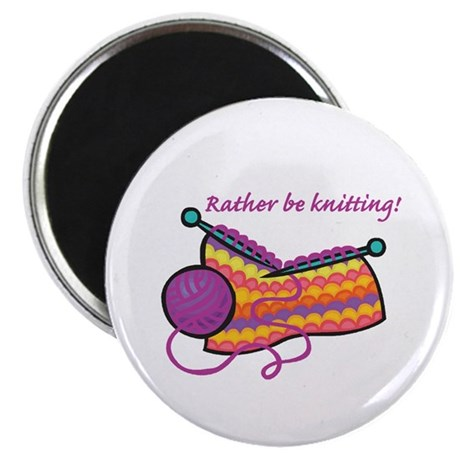 "Rather Be Knitting Design 2.25"" Magnet (10 pack)"