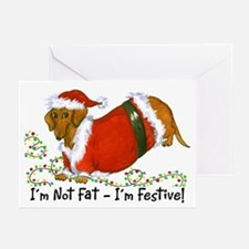Chubby Santa Dachshund Greeting Cards (Pk of 20)
