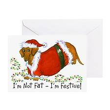Chubby Santa Dachshund Greeting Card