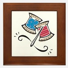 Cute Needle & Thread Design Framed Tile